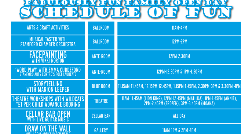 Family Open Day Schedule of Fun