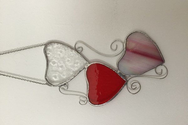 Stained Glass Trio of Hearts